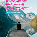"A man sitting at the end of a boat dock looking at the mountains with a quote from Joseph Campbell, ""Sacred space is where you can find yourself again and again."""
