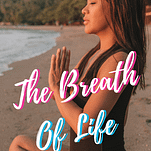 """Noelle on a prayer pose with a quote, """"The breath of life"""""""