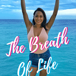 """Noelle's hands up in the air with a quote, """"The breath of life"""""""