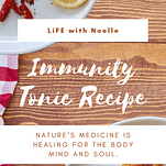 Immunity tonic ingredients on a platter with napkin